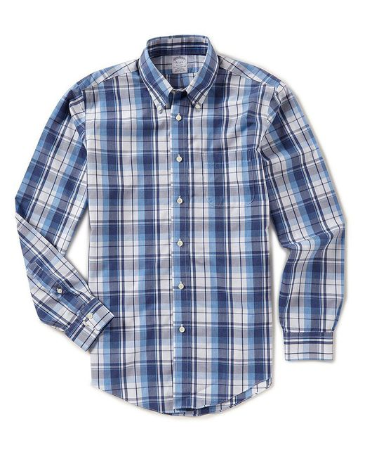 Brooks Brothers - Blue Plaid Regent-fit Long-sleeve Woven Shirt for Men - Lyst