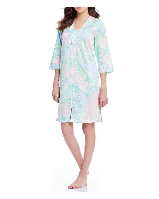 Miss Elaine | Blue Paisley Sateen Tasseled Zip Robe | Lyst
