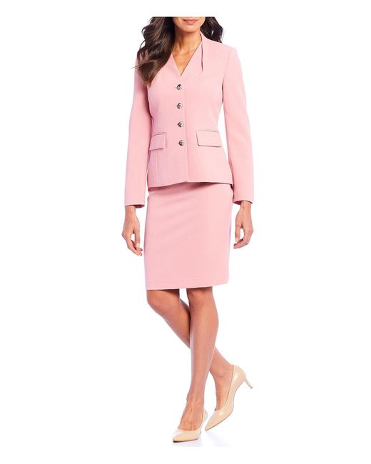 Tahari Pink Stretch Pebble Crepe Four-button Jacket 2-piece Skirt Suit