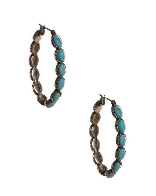 Lucky Brand - Blue Oblong Hoop Earrings - Lyst