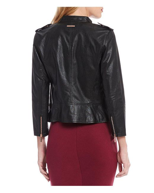 Armani exchange Faux Leather Rose Gold Hardware Moto Jacket in ...