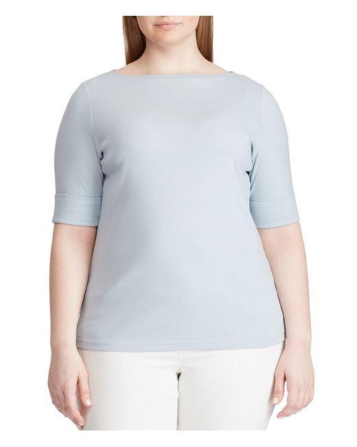 Lauren by Ralph Lauren Blue Plus Size Cotton Boat Neck Top