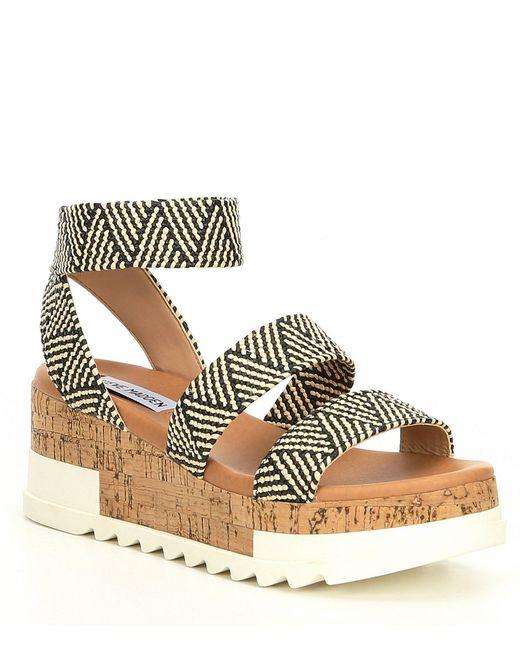 Steve Madden Multicolor Bandi Elastic & Cork Flatform Sandals