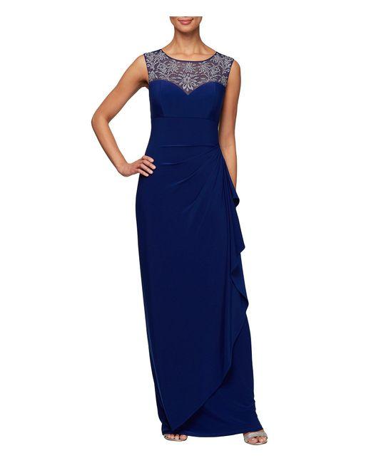 Alex Evenings Blue Embellished Sweetheart Neckline Sleeveless Gown