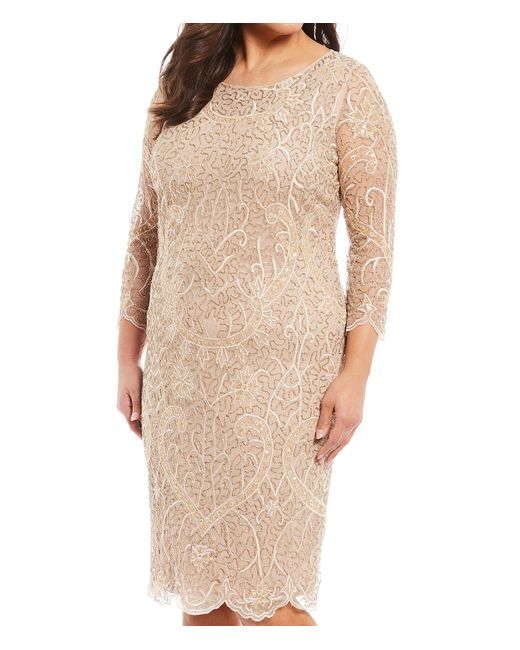 7b8da8266d6 ... Pisarro Nights - Natural Plus Size Size Embroidered Sequin Beaded  Sheath Dress - Lyst ...