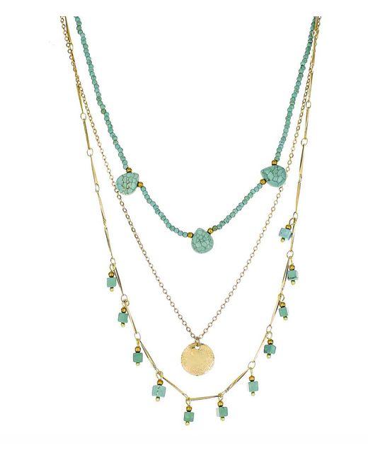 Panacea - Metallic Turquoise Pre Layered Stone Necklace - Lyst