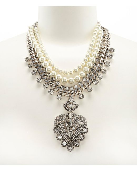 Belle By Badgley Mischka - Metallic Rhinestone & Faux-pearl Pendant Statement Necklace - Lyst