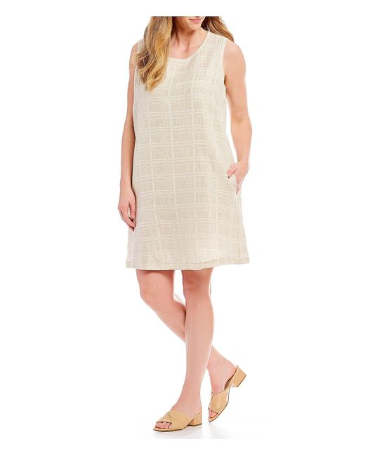Eileen Fisher - Natural Plus Size Jewel Neck Shift Dress - Lyst