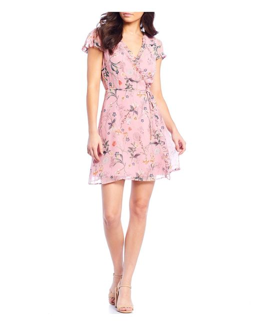 Gianni Bini Pink Becca Ruffle V-neckline Floral Motif Print Wrap Georgette Dress