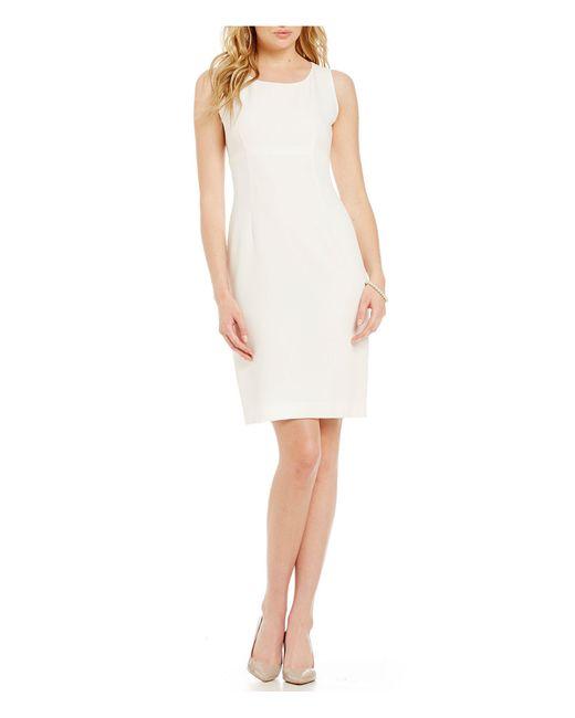 Kasper - White Crepe Empire Sheath Dress - Lyst