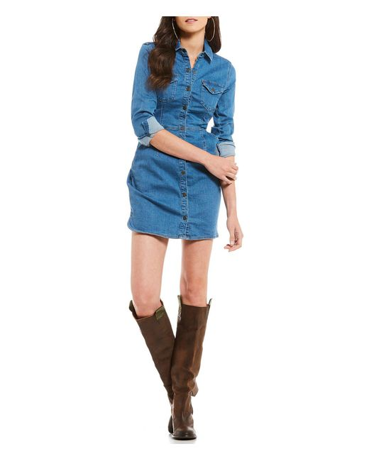 Free People - Blue Dynomite In Denim Western Inspired Mini Shirt Dress - Lyst