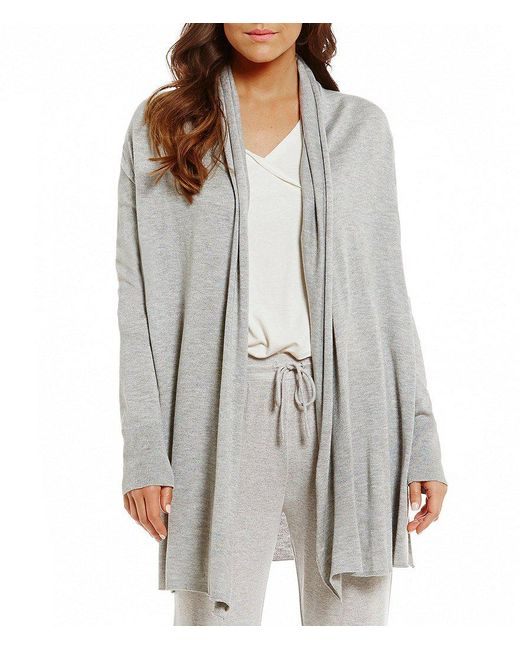 Lauren by Ralph Lauren   Gray Sweater-knit Wrap Cardigan   Lyst