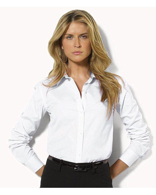 "Lauren by Ralph Lauren | White Petite ""aaron"" Wrinkle-free Shirt | Lyst"