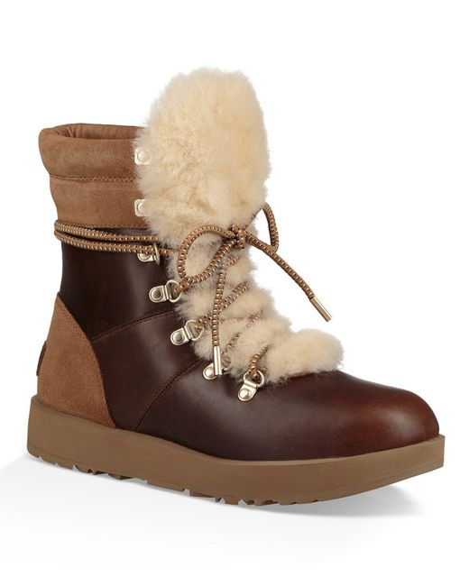 Ugg Brown Viki Waterproof Lace Up Boots