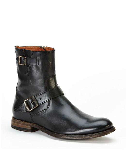 Frye - Black Men's Jacob Buckle Strap Engineer Block Heel Boots for Men - Lyst