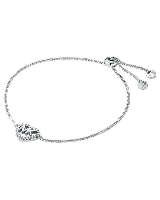 Michael Kors Metallic Sterling Silver Heart Logo Slider Bracelet