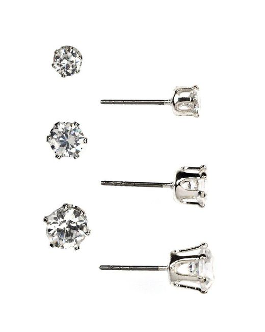 Anne Klein - Metallic Trio Stud Earrings Set - Lyst