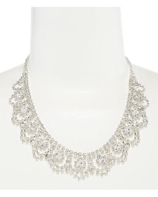 Cezanne - Metallic Rhinestone Weave Frontal Necklace - Lyst