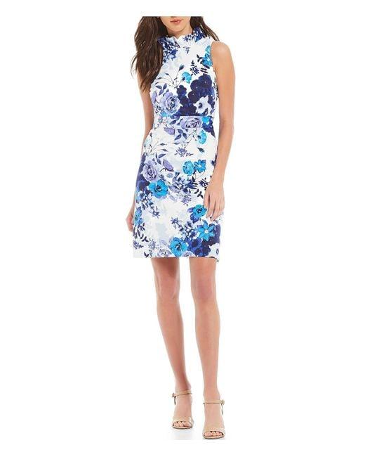 Eliza J Blue Floral Print Ruffle Mock Neck Bow Back Sheath Dress