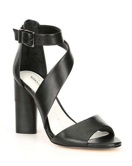 52c5bc180dc Gianni Bini - Black Elliah Leather Asymmetrical Block Heel Sandals - Lyst  ...