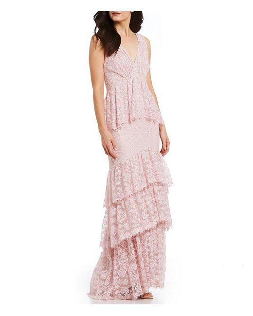 Tadashi Shoji - Pink V Neck Ruffle Tiered Lace Gown - Lyst