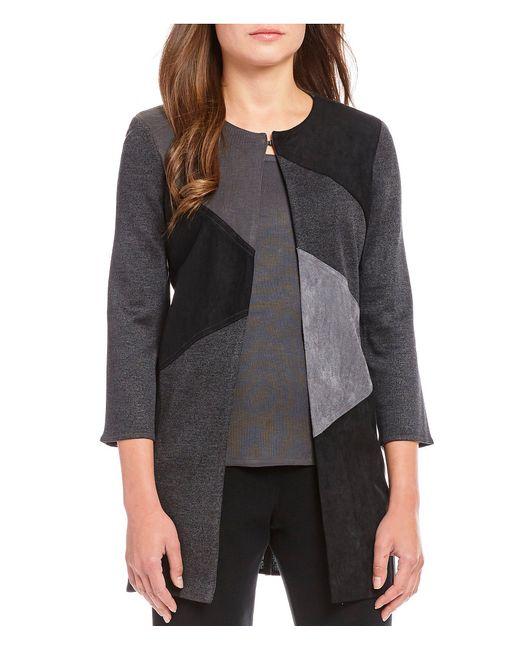 Ming Wang - Black Jewel Neck Colorblock Long Jacket - Lyst