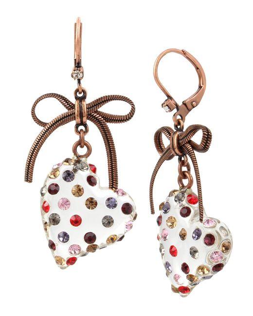 Betsey Johnson - Multicolor Heart Drop Earrings - Lyst