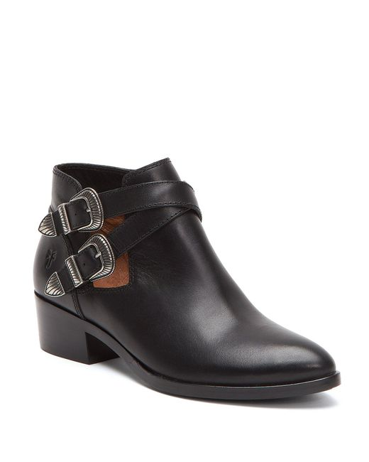 Frye - Black Ray Western Belt Double Buckle Detail Block Heel Shooties - Lyst