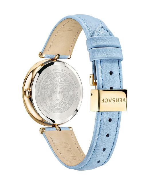 a43c36f521 ... Versace - Palazzo Empire 34mm Blue Calf Leather Strap Watch - Lyst ...