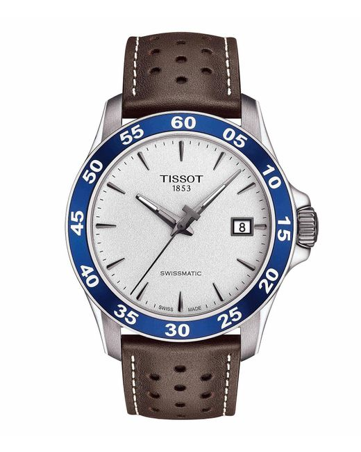 Tissot - V8 Men's Brown Leather Strap Mechanical Automatic Watch for Men - Lyst