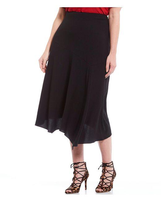Vince Camuto Black Plus Size Rumple Satin Asymmetrical Hem Midi Skirt