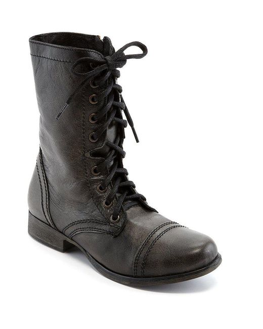 Steve Madden | Brown Troopa Military-inspired Zipper Lace Up Leather Combat Boots | Lyst