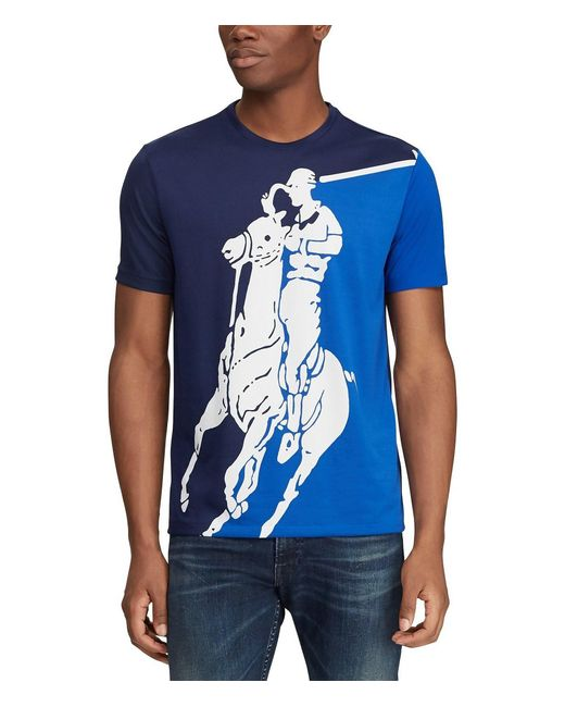 Polo Ralph Lauren Blue Active-fit Big Pony Short-sleeve Graphic Tee for men