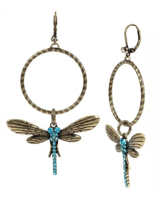 Betsey Johnson | Metallic Pavé Dragonfly Hoop Earrings | Lyst