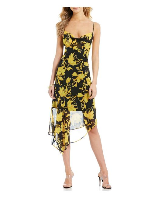 015bd935a8f6 C meo Collective - Black On And Off Georgette Floral Print Drape Neck Midi  Dress ...