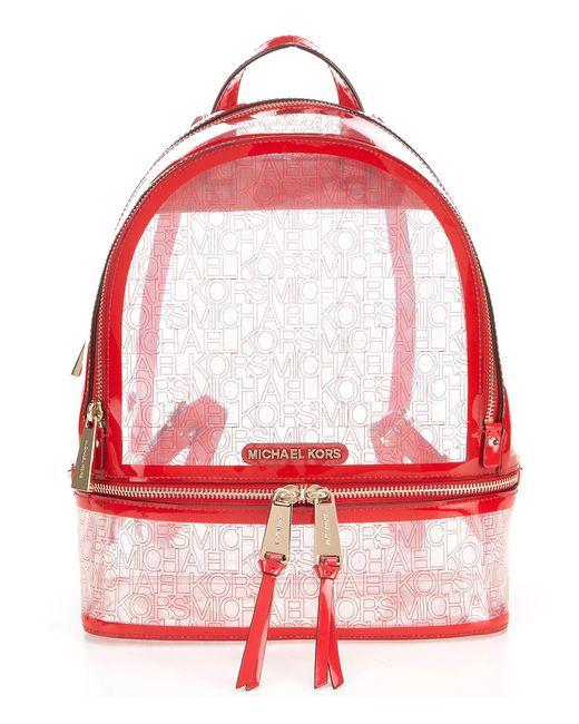 4911ef6568fc MICHAEL Michael Kors - Red Rhea Medium Clear Zip Backpack - Lyst ...