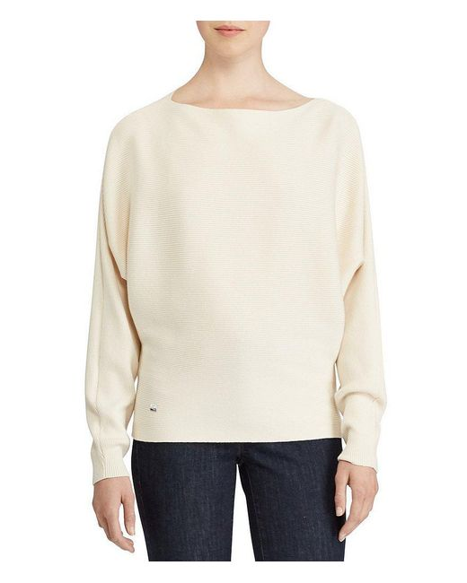 Lauren by Ralph Lauren | Natural Petite Cotton-blend Dolman Sweater | Lyst