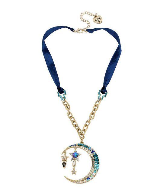 Betsey Johnson   Celestial Blue Moon Pendant Necklace   Lyst