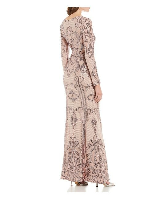 88bd283fd3e ... Betsy   Adam - Multicolor Sequin Long Sleeve Gown - Lyst