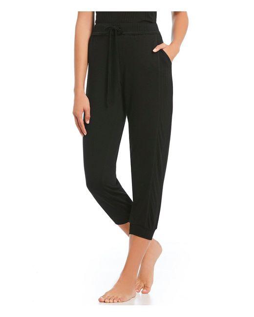 Splendid - Black Solid Cropped Jersey Jogger Sleep Pants - Lyst