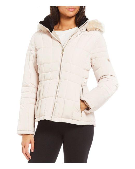 Calvin Klein - Black Faux Fur Hood Single Breast Coat - Lyst