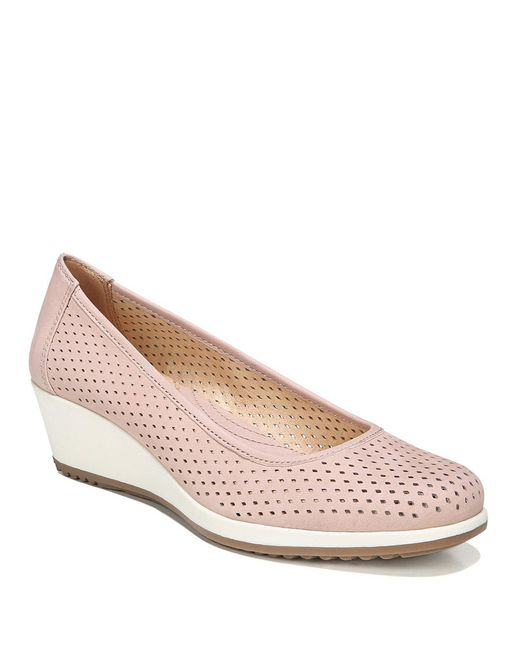 Naturalizer Betina 2 Perforated Leather Wedges In Purple