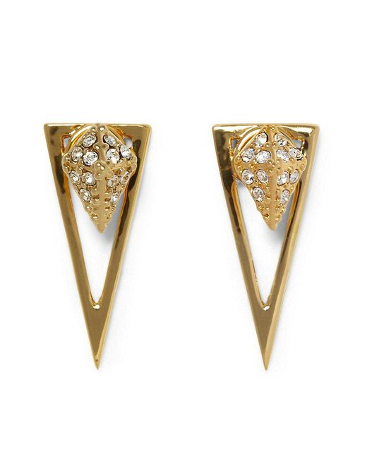 Vince Camuto | Metallic Pav Crystal Pyramid Front/back Earrings | Lyst