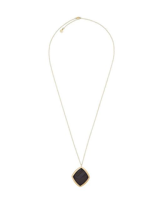 Michael Kors - Metallic Cool & Classic Gold-tone And Black Agate Necklace - Lyst