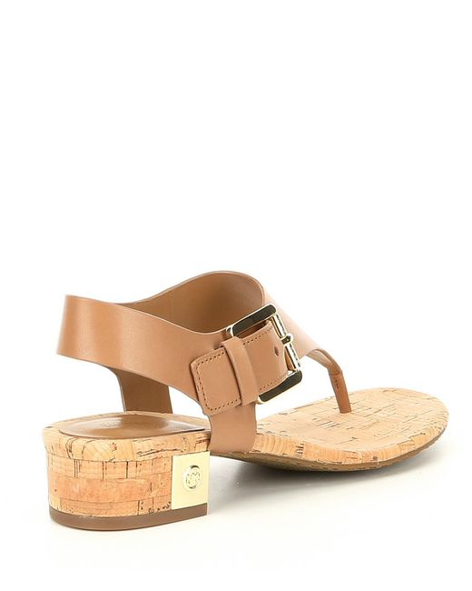 c30d6d0a8 ... MICHAEL Michael Kors - Brown London Leather Thong Block Heel Sandals -  Lyst ...