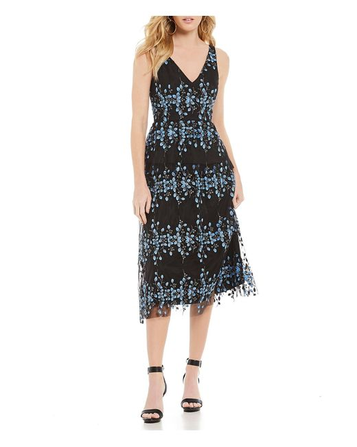 87e406d806 Gianni Bini - Black Emily Embroidered Midi Dress - Lyst ...