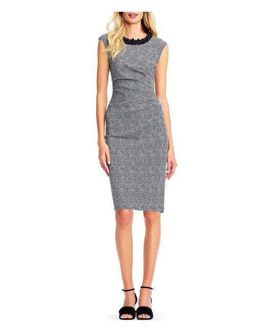 Adrianna Papell - Black Beaded Neck Stretch Jacquard Dress - Lyst