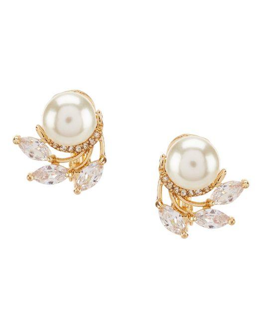Anne Klein - Metallic Faux-pearl Clip-on Stud Earrings - Lyst