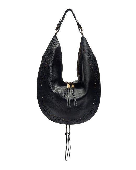 Etienne Aigner | Black Moda Whip-stitched Tasseled Studded Hobo Bag | Lyst