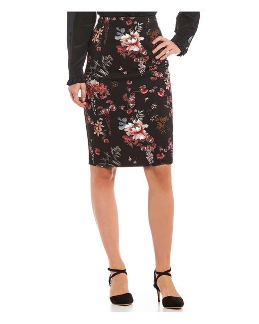 Antonio Melani - Black Crepe Tami Floral Print Pencil Skirt - Lyst